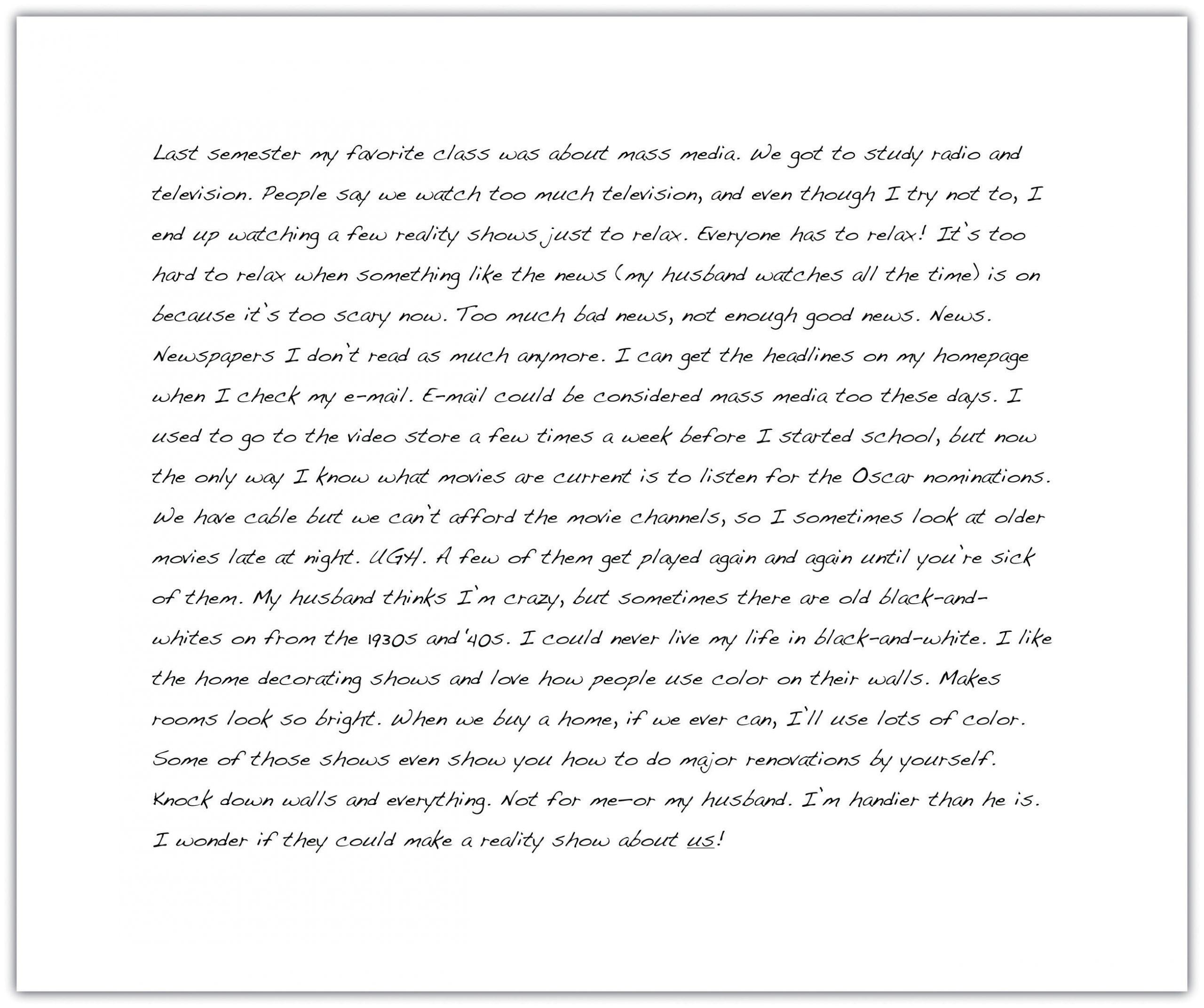 Example of freewriting