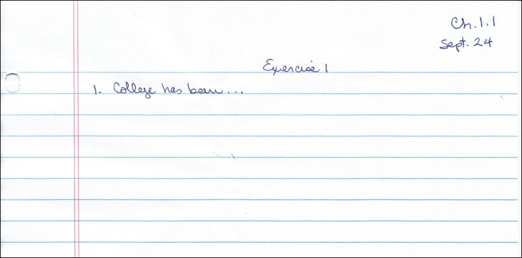 Example of notebook page