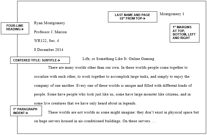 Example of a paper formatted in MLA style