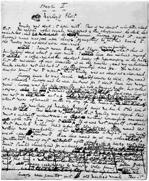 """A photograph of the first page of Charles Dickens' """"A Christmas Carol"""""""