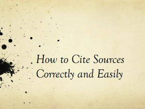 """Title slide of """"How to cite sources correctly and easily"""" Powerpoint"""